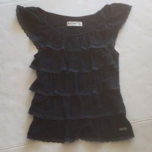 Pretty Navy Ruffled Top by Abercrombie